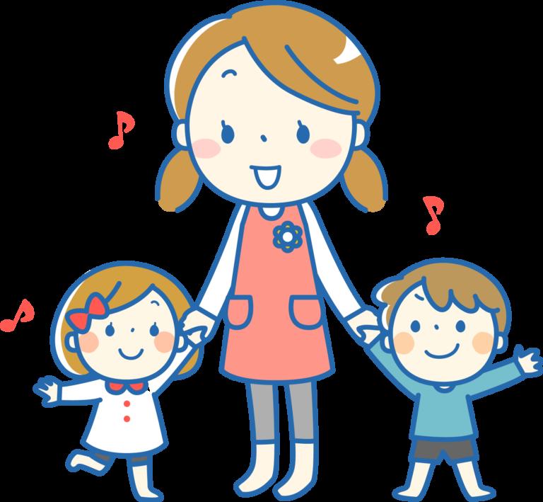 先生と幼児のイラスト